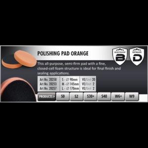 Scholl Concepts Orange Polishing Pad (Medium) 145mm x 30mm bg
